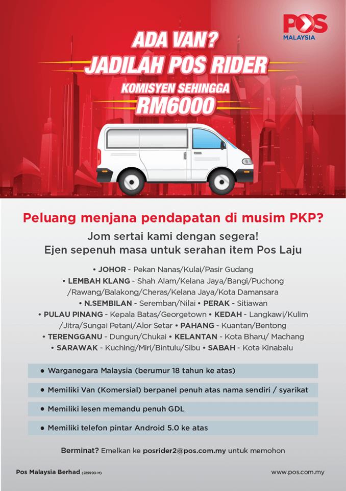 Terkini Jawatan Kosong Pos Malaysia Pos Rider Driver Van Posmen Kurier Komisyen Diberi Sehingga Rm6000 Jawatan Malaysia Terkini