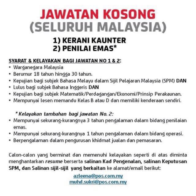 jawatan kosong pos malaysia terkini 2020