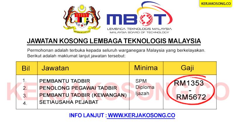 jawatan kosong lembaga teknologis malaysia mbot