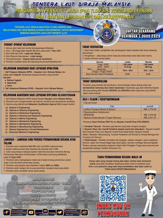 Pengambilan Perajurit Muda TLDM Siri 22220 Kini Dibuka Bagi Lepasan SPM SVM Diploma