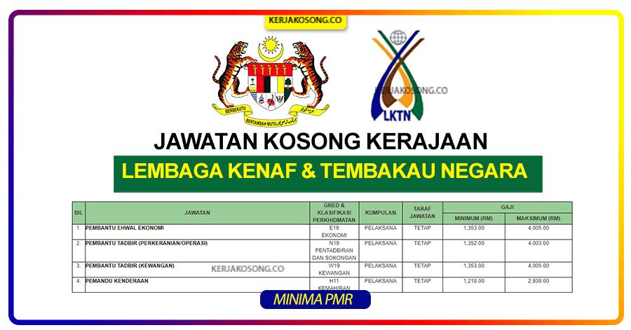 Jawatan Kosong Lembaga kenaf dan tembakau lktn malaysia 2021