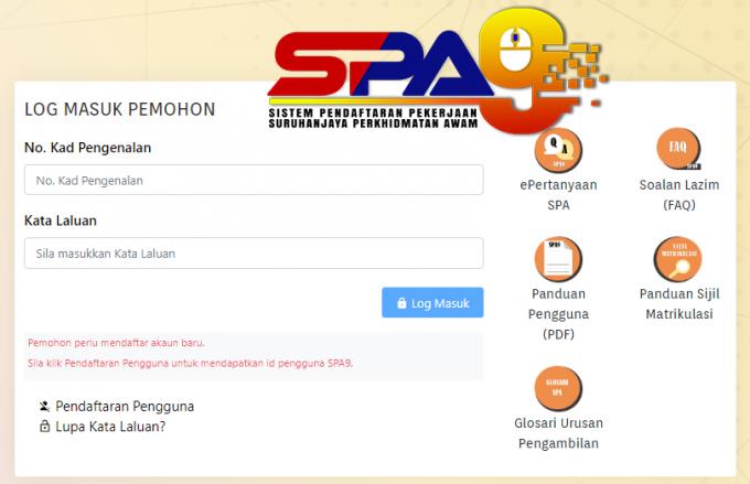 spa9 login & daftar