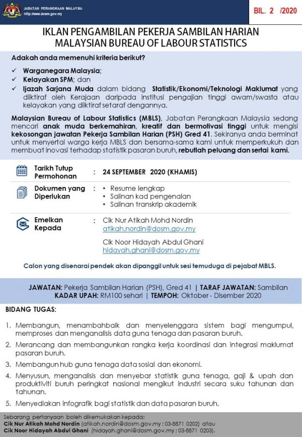 Iklan jawatan Malaysian Bureau Of Labour Statistics 600x867 1