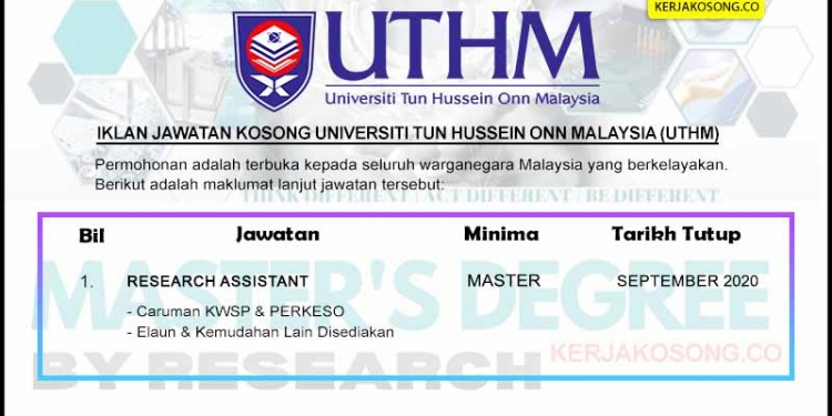 Jawatan Kosong Universiti Tun Hussein Onn Malaysia UTHM KC COVER SEP 2020