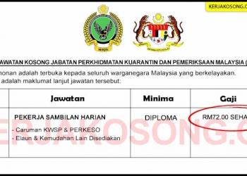 Jawatan Kosong Jabatan Perkhidmatan Kuarantin dan Pemeriksaan Malaysia MAQIS