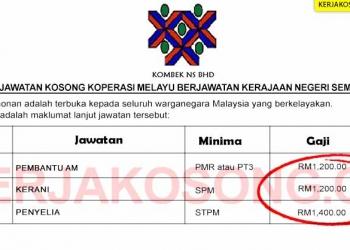 Jawatan Kosong Koperasi Melayu Berjawatan Kerajaan Negeri Sembilan Minima PMR SPM STPM