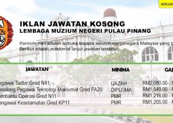 Jawatan Kosong Lembaga Muzium Negeri Pulau Pinang OKT 2020