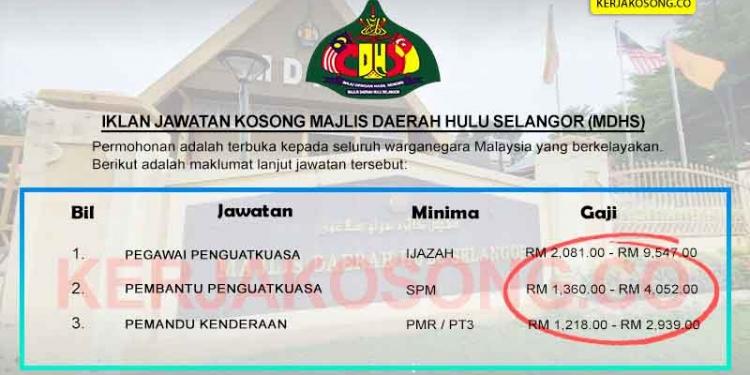 Jawatan Kosong Majlis Daerah Hulu Selangor MDHS KC OKT 2020