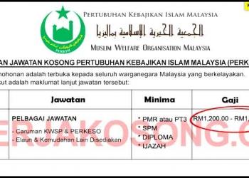 Jawatan Kosong Pertubuhan Kebajikan Islam Malaysia PERKIM SEP 2020