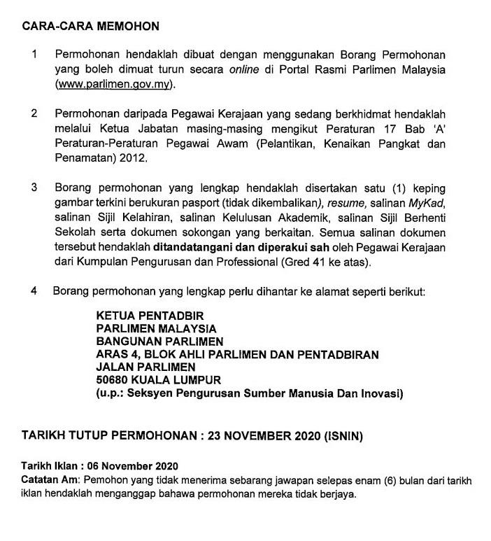 CARA MEMOHON KC NOV 2020 PARLIMEN MALAYSIA