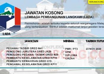 Jawatan Kosong Lembaga Pembangunan Langkawi LADA KC NOV 2020