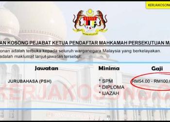 Jawatan Kosong Pejabat Ketua Pendaftar Mahkamah Persekutuan Malaysia