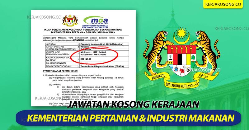 Jawatan Kosong Kementerian Pertanian Dan Industri Makanan MAFI