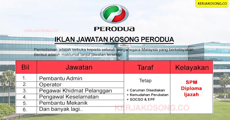 Jawatan Kosong Perodua Table 2021 terkini