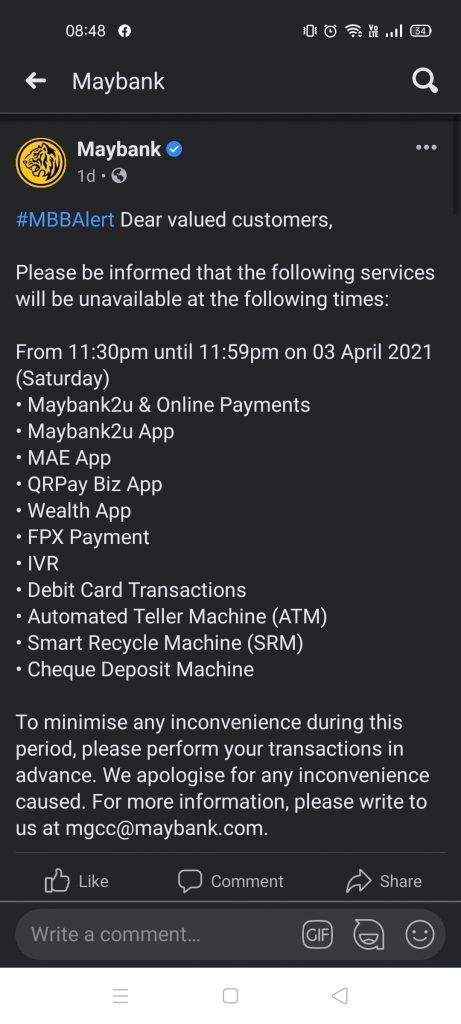 gangguan perkhidmatan maybank