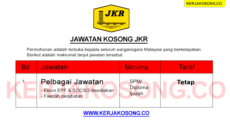 Jawatan Kosong Jabatan Kerja Raya Malaysia JKR terkini 2021