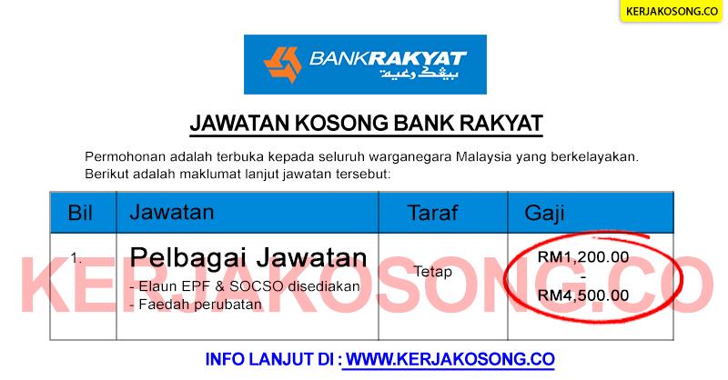 jawatan kosong job bank rakyat terkini